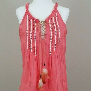 Miss Me Coral Embellished Feather Top